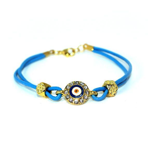 Crystal Evil Eye Charm Bracelet  Blue by SerenaLeena on Etsy, $12.00