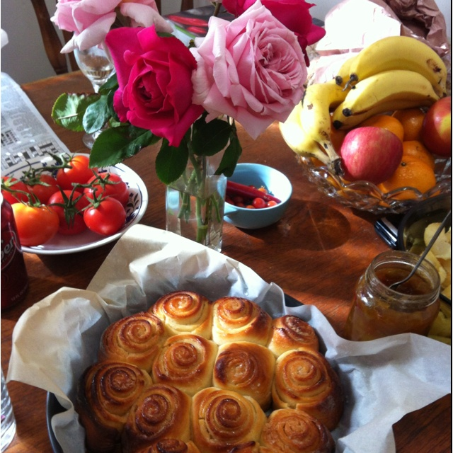 Sticky buns and roses. Sunday afternoon at its finest.