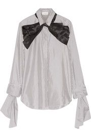 Pussy-bow striped cotton and silk-blend shirt