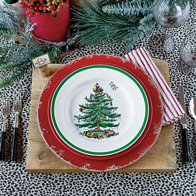 Updated table setting with Christmas Tree by Spode
