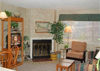 Nature's Haven has 2 private bedrooms, a full kitchen and a wood-burning fireplace in the living room. Grab the gang, pop a bag of popcorn, and enjoy a movie on the TV in the living room. Get back to nature when you stay in this Gatlinburg condo.  #condos  #vacation  #SmokyMountains