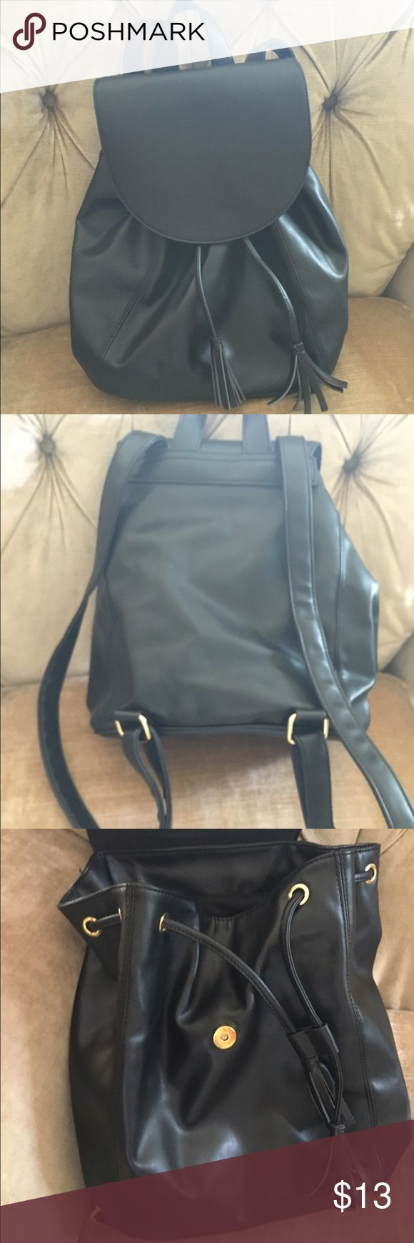 Faux leather backpack Old navy faux leather backpack / purse. Black with gold colored buckles. In like new condition! Old Navy Bags Backpacks