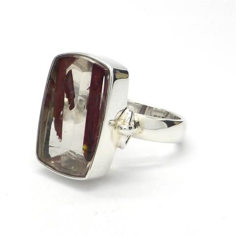 Natural Red Epidote in Smoky Quartz Ring | 925 Sterling Silver | Activate your True Awareness | Crystal Heart Melbourne Australia since 1986
