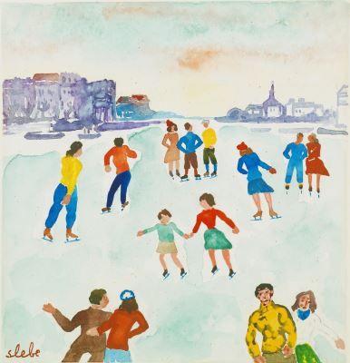 Ferre Slebe (Ferdinand Joseph Sleebe) (1907-1994) Figure-skating on the ice, watercolour on paper. Collection Simonis & Buunk, The Netherlands