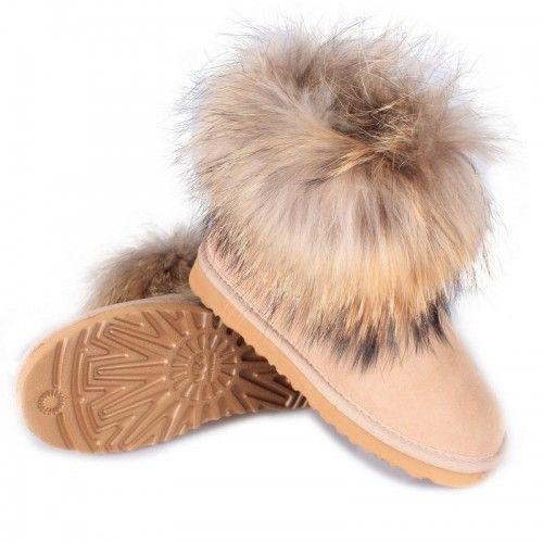 lacné Dámske UGG líščou kožušinou ovčej kožušina/Fox Mini obuv čižmy 5854 piesok