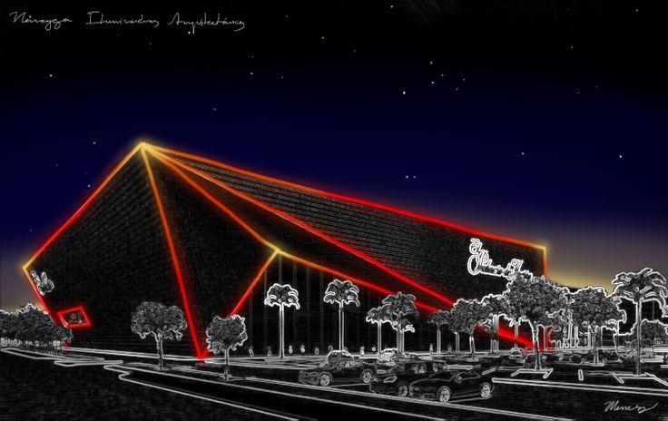 Conceptual de iluminación arquitectónica. Palacio de Hierro Villahermosa Fachada por Sordo Madaleno Arquitectos + Noriegga Iluminadores Arquitectónicos Mexicanos Villahermosa, Tabasco, México