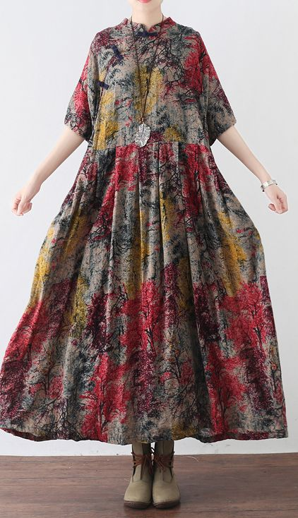 ffb5593a1a9 baggy prints long cotton dress trendy plus size clothing dress boutique big  hem maxi dress