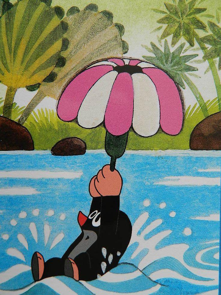 (2015-01) Muldvarpen holder fast i parasol, mens han sejler på vandet