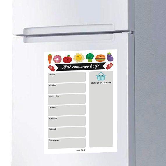 Imán pizarra para planificar menús semanales  lista de por dibucos