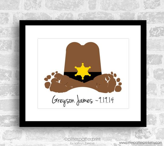 Cowboy Hat Baby Footprint Art Print Western by PitterPatterPrint