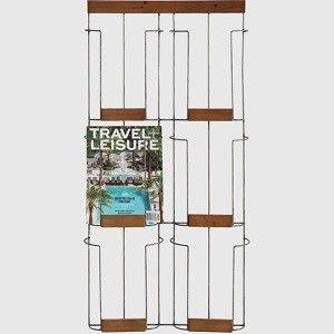 Spontan magazine rack affordable six compartment copper for Trendy magazine rack