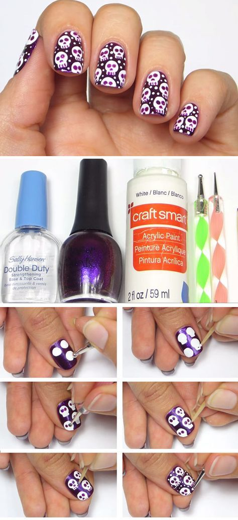 Halloween Skully Nail Art | Click Pic for 23 Spooky Nail Art Ideas for Halloween | DIY Halloween Nail Art for Kids