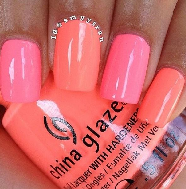 Multi Color Corals Pinks Melons Solid Colorsfree Hand Nail Design Summer NailsOrange NailsCoral Pink NailsNeon