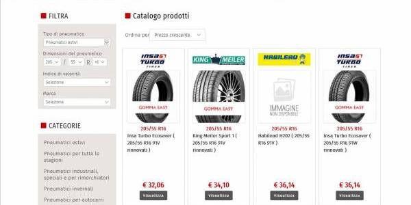 Gomma Easy è un sito italiano di vendita online di pneumatici. Il layout è responsivo e moderno. Grazie al motore di ricerca personalizzato é possibile cercare gli pneumatici in tutta semplicità confermandosi come un e-commerce facile e fruibile.  http://www.gommaeasy.net/