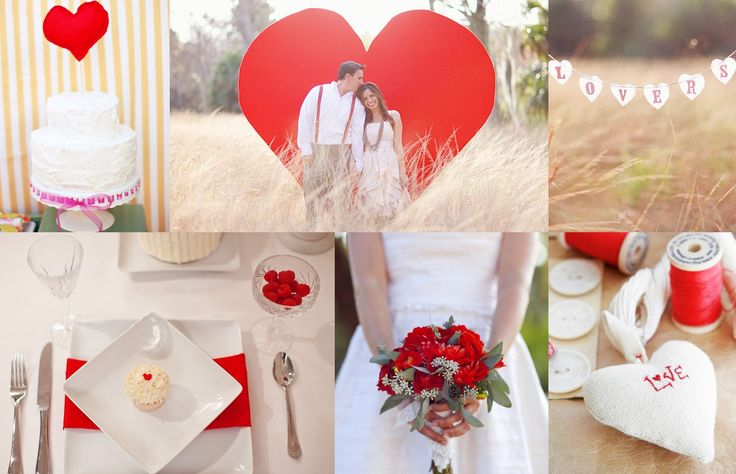 Heart backdrop for cake table; red napkins on white linens; heart-shaped signage; red bridal bouquet; 'Love'-stitched in red mini heart pillows to scatter or as favors
