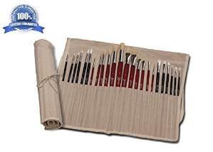 Buy Oil and Acrylic Paint Brush Set (24pc) Paint Brush Holder for Kids by Makaret