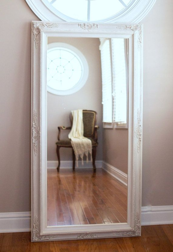 Full length mirror for sale vintage white baroque framed for Long decorative mirrors
