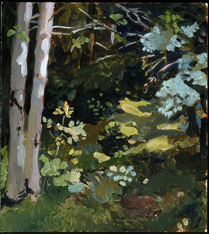 """""""Path in the Woods,"""" Fairfield Porter, 1968, oil on Masonite, 20 1/16 x 18"""", Smith College Museum of Art."""