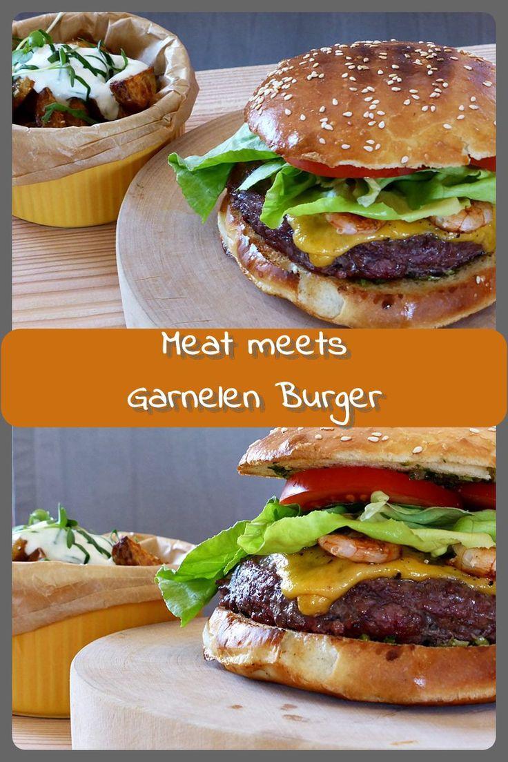 Meat meets Garnelen Burger Reines Rindfleisch, selbstgemachte Burgerbrötchen und große Gambas bzw. Garnelen. Dazu etwas Salat und Tomate. Mehr braucht es nicht...