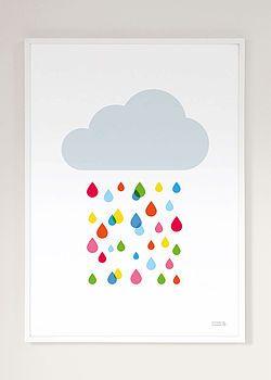 Multicoloured Rain Cloud Print