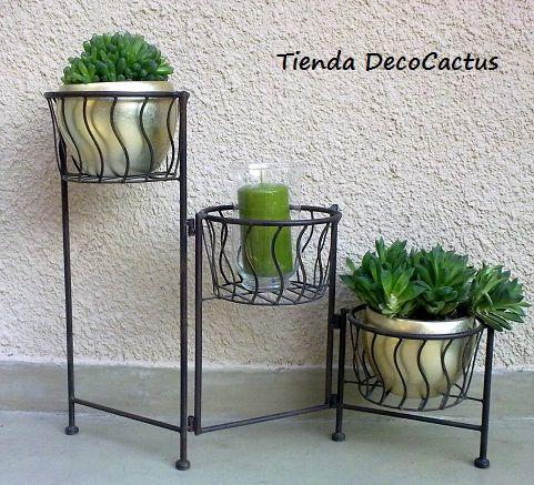 Tienda DecoCactus cactus crasas suculentas macetas de cemento cerámica banquetas romanas: Portamacetas Plegable