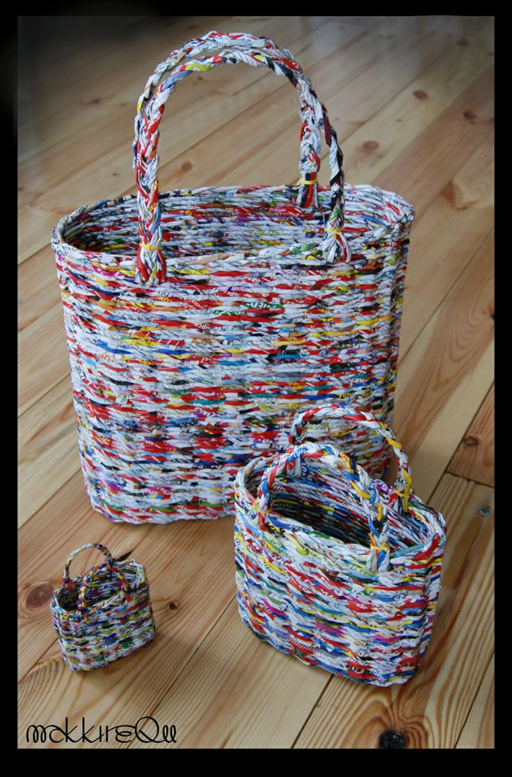 newspapers basket, bag made of paper, paperwicker