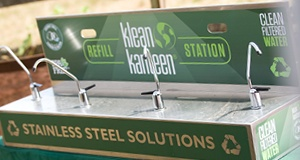 Klean Kanteen water stations provide, clean, filtered drinking water and are a key to displacing single-use plastic bottled water by making it easy for people to refill reusable water bottles.