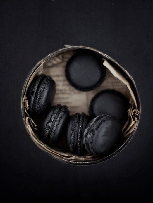 black macaroon in basket   baked goods . Backwaren . pâtisseries   Food. Art + Style. Photography: Food on black @ living while doing good  