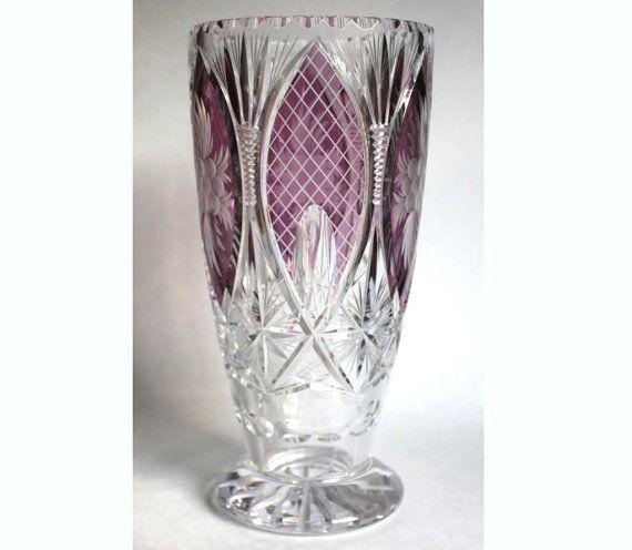 Large German Lead Crystal Vase Vintage Castle Cranberry