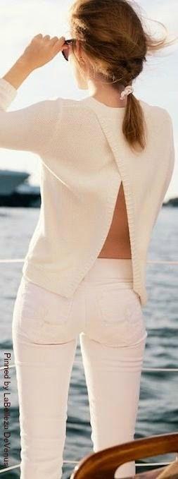 Slanted open back sweater (wonder it its worn backwards, for effect)  | LBV ♥✤