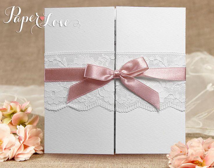 Zaproszenia ślubne koronki wstążka vintage tryptyk - LetterpressForYou - Zaproszenia ślubne