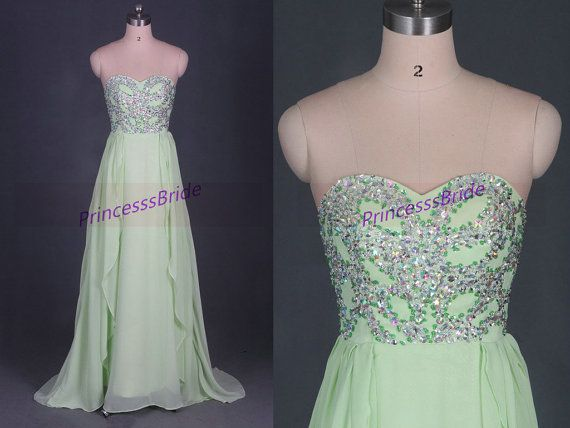 2014 long kelly chiffon prom dresses with crystals,chic cheap gowns for holiday party,stunning women dress in handmade hot.    This dress is fully