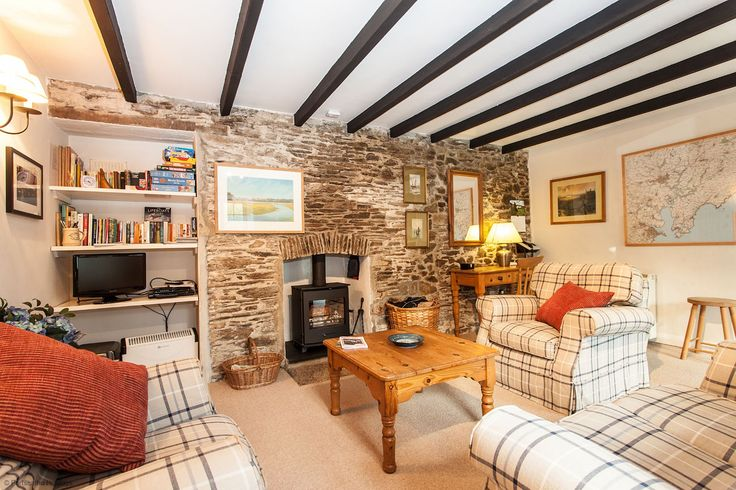 Beautiful living room of a Cornwall cottage from Portscatho Holiday Cottages, in the Roseland Peninsule. Like the style.
