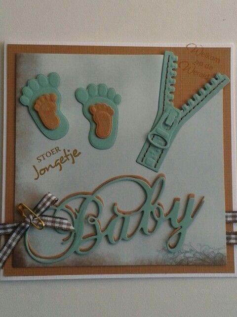 Babykaart met rits en voetjes. Allebei van marianne design mal.