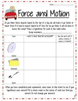 Force and motion worksheets 7th grade