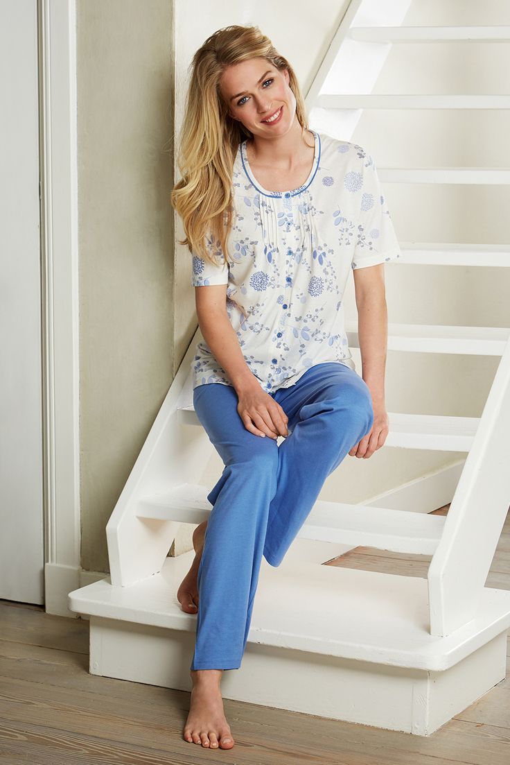 A touch of classic styling with this floral blue pyjama set from Pastunette