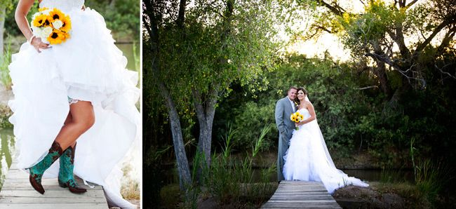 The couple describes their wedding as Classy Country- it's pretty fun! Tucson Bride & Groom Magazine, #Realwedding #Tucson Photographer: Something Blue Photography :: Floral: Elaine Taylor Fine Flowers :: Cake: Village Bakehouse :: Ceremony and Reception Venue: Tanque Verde Guest Ranch #sunflowers #yellow #wedding #Weddingvendor #teal #Cowgirl #boots