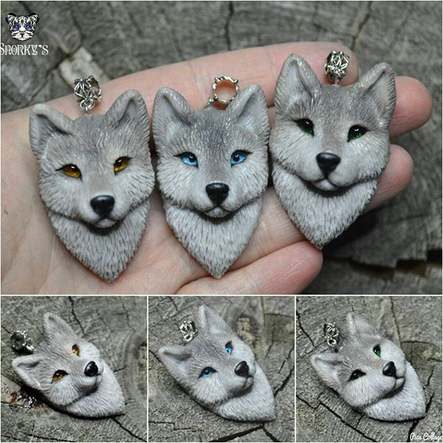 pendant with wolf, polymer clay jewerly