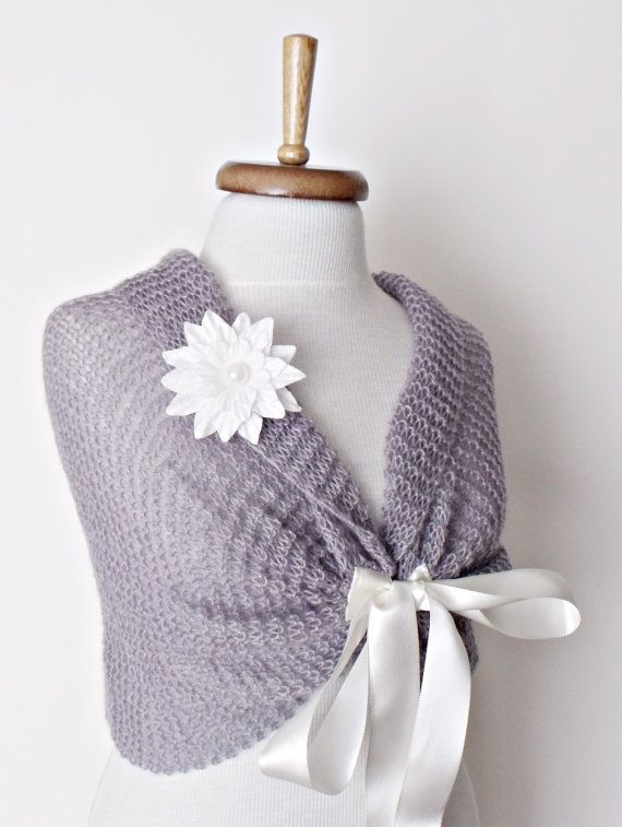 Grey Mohair Bridal Wedding Romantic Shrug Capelet by knittingshop