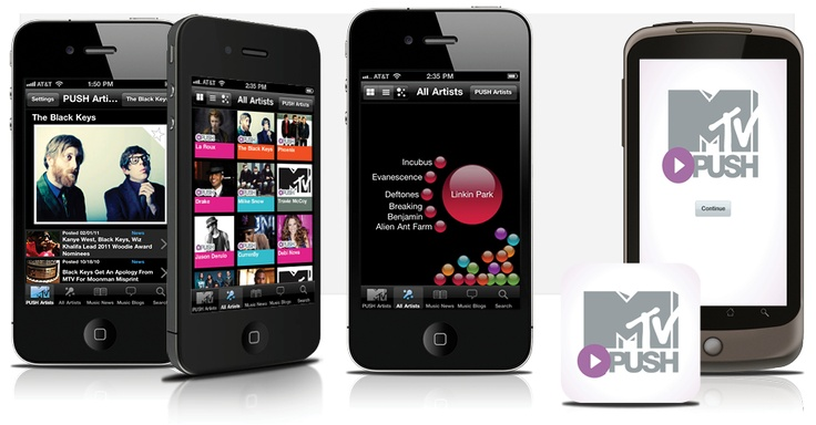 The MTV PUSH app for iPhone and Android helps users find their new favorite band while keeping tabs on all the latest music news. Fuzz developed an innovative graphing system that lets users visually explore similarities between artists, helping them discover new music outside of their usual fav #smartphone #iPhone #iOS #MTV #push #music