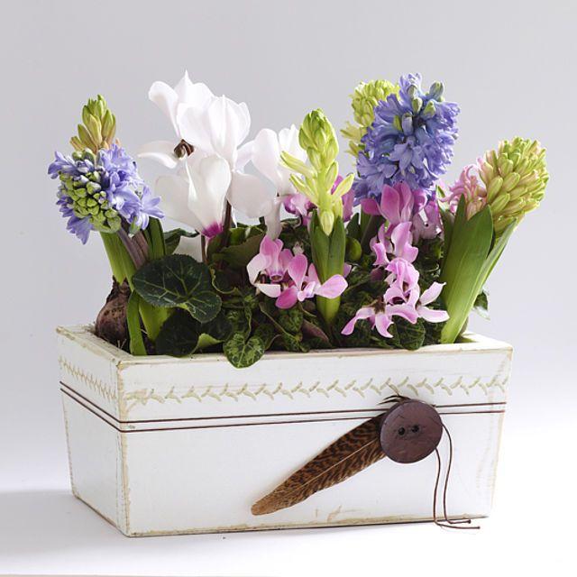 Eine hübsche Alternative zu den bunten Dekorationen aus dem Supermarkt ist ein Blumenkasten im angesagten Shabby-Look.