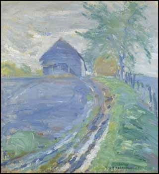 """""""Barn and Lane,"""" Lionel Lemoine Fitzgerald, 1920, oil on canvas, 22 x 20"""", private collection."""