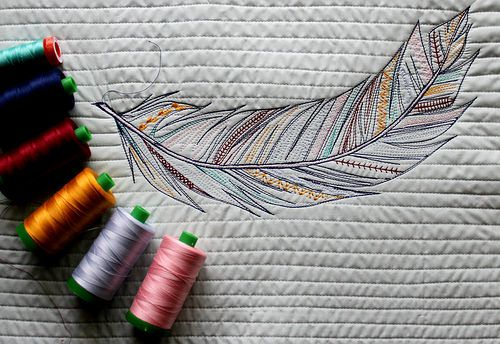Feather Sketch Stitch by maureencracknell, via Flickr