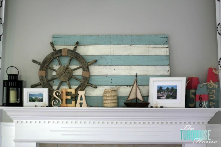 Lake Themed Summer Mantel