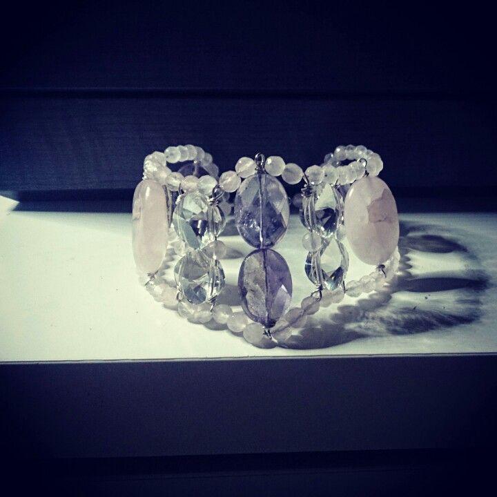Amethyst and rose quartz cuff