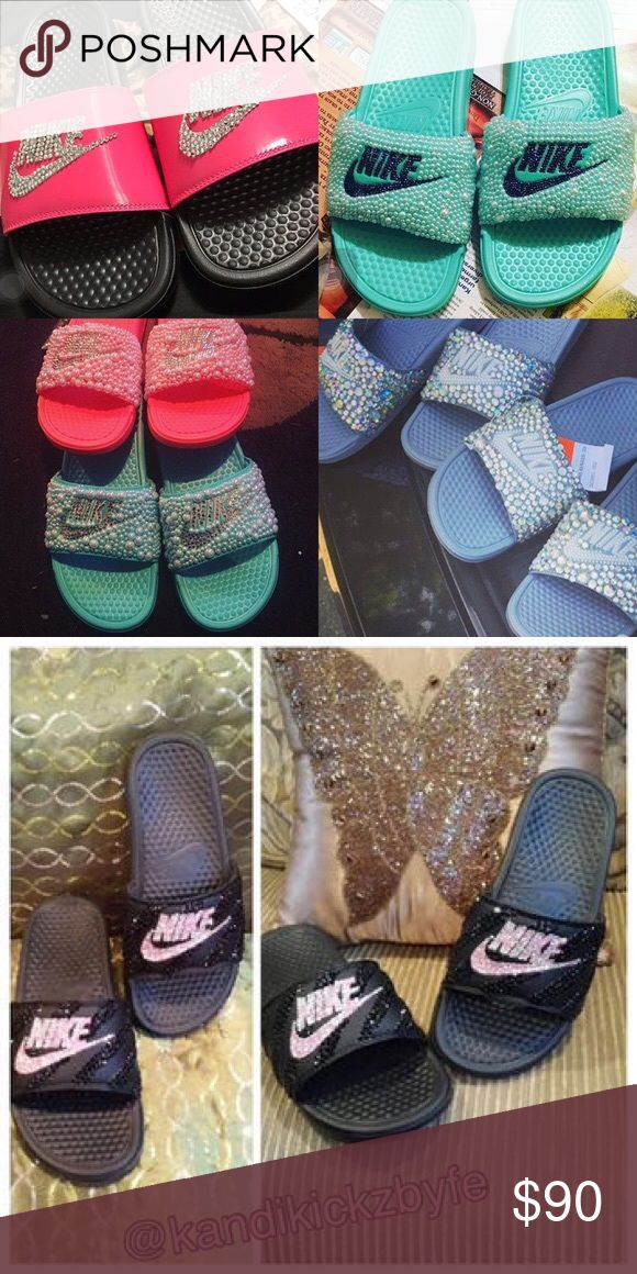 Rhinestone Nike Slides Comes in All Sizes and Colors Text My Work Phone For Questions and Concerns 318-239-9112 Nike Shoes Slippers