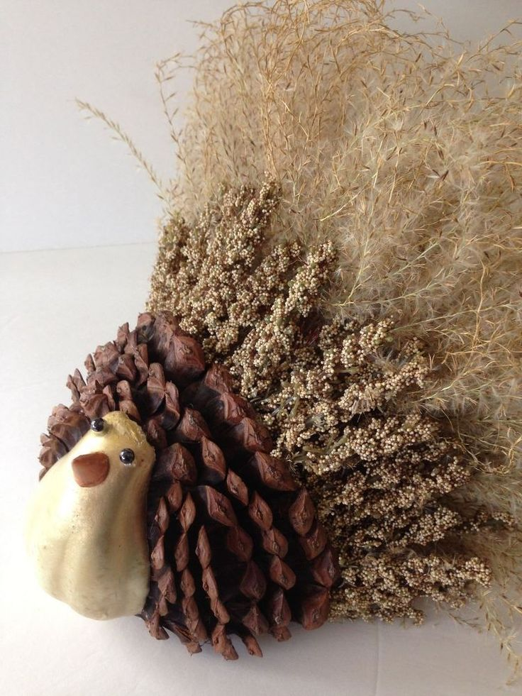 Handcrafted Thanksgiving Turkey Using Ornamental Grasses and Pinecones