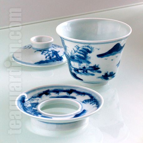 Tall gaiwan with blue glaze. A tall shape is best for use as a cup and for infusing green or black teas employing longer infusion time. This particular design has a ring saucer, an homage to the structure when it was invented, probably in the 9th century