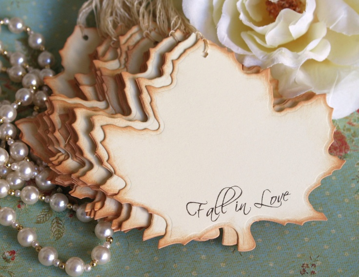 Wish Tree Tags - Fall In Love- Vintage Wedding- Leaf Shape - Set of 6. $5.50, via Etsy.