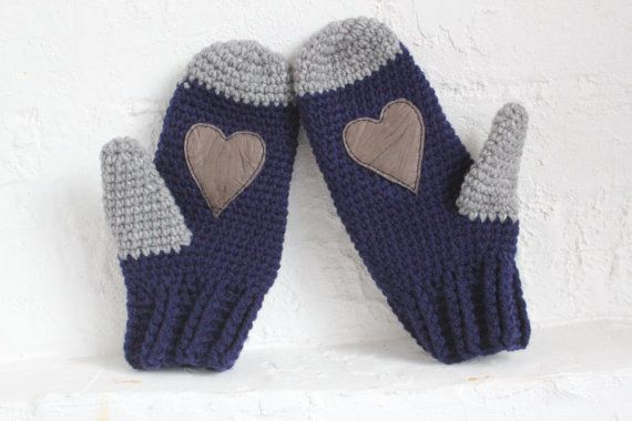 Valentine's Day Woman mittens. Wool mittens.Crochet Mittens with leather heart. Blue navy mittens. heart gloves. heart mittens. wool gloves. on Etsy, $23.18